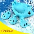 4 Unids/lote Bonito Mini Delfines Baño Juguetes de Baño Flotante de Goma Escarceos squeeze-que suena Delfín De Goma Niño Juguetes de Baño Clásico