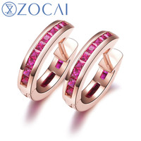 ZOCAI Genuine Ruby Gemstone 1 0 CT Certified Ruby Hoop Earrings 18K Rose Gold AU750 E80002T