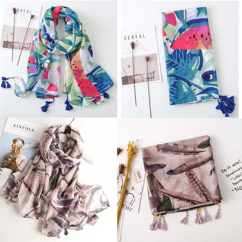 HTB1tglQQH2pK1RjSZFsq6yNlXXaL - VISROVER Fashion Summer Scarf For Women Scarf For Lady Viscose Shawl Tropical Print Scarf Head Luxury Brand Beach Scarves Hijab