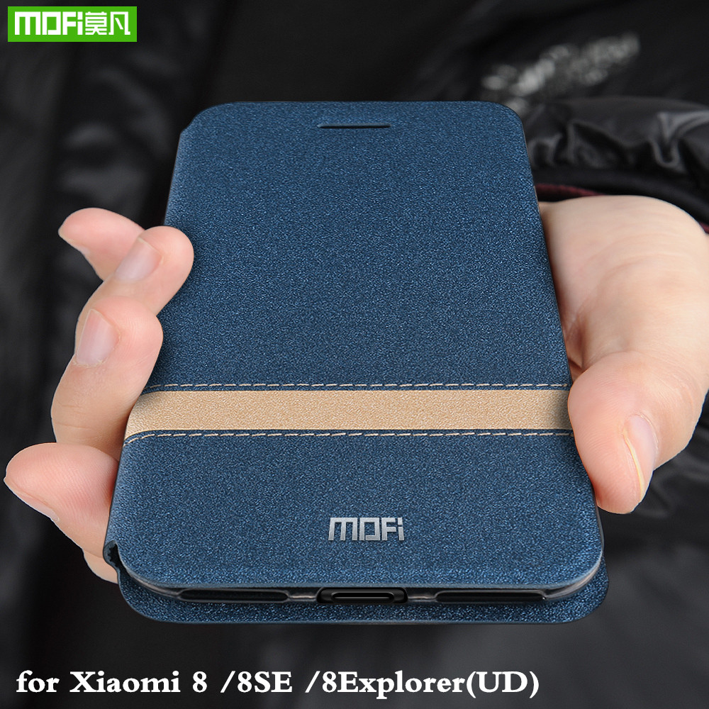 MOFi Flip Cover for Xiaomi <font><b>Mi</b></font> 8 <font><b>Case</b></font> for Xiomi <font><b>8SE</b></font> TPU UD PU Leather Coque for Mi8 Explorer Silicone Book Housing Original image