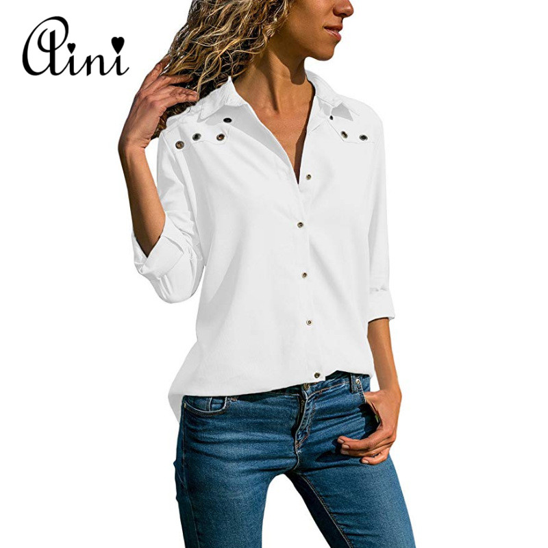 Plus Size 5XL Women Tops And Blouses 2018 Autumn Casual Solid Hollow Out Button Cotton Blouse Elegant Office Lady Female Shirts 2