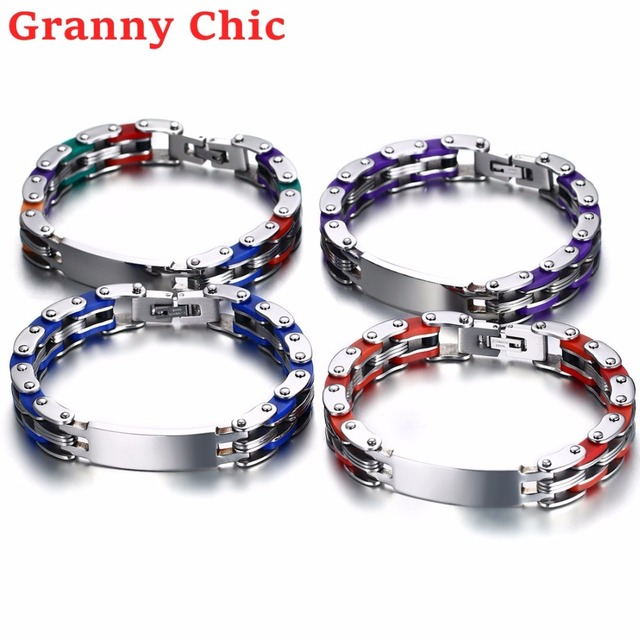 Granny Chic New Fashion Men S Women Stainless Steel Silicone Stripe Chain Link Bracelets Black Jewelry