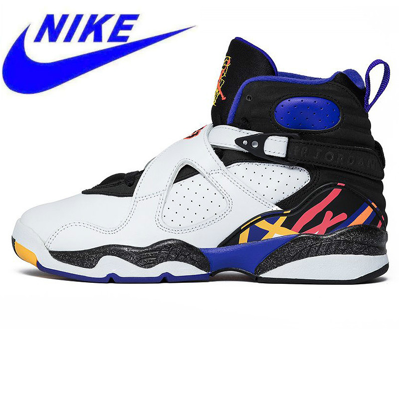 b0bf1ae19397 Original NIKE Air Jordan 8 Three Peat AJ8 Joe 8 Consecutive Men s  Basketball Shoes Sneakers