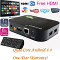 Navio Da Gota Livre + Quad Core Android 4.4.4 Smart TV Box Kodi Media Player 1080 P WIFI HDMI YOUTUBE XBMC Totalmente Carregado