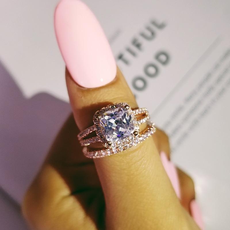acb31adf4d96a Rose gold farbe 925 sterling silber hochzeit ring set für frauen braut  Engagement modeschmuck Bands eternity geschenk moonso R4830