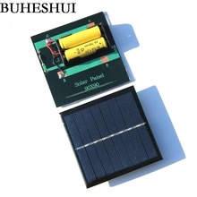 BUHESHUI 1W Solar Panel With Base For AA Battery 1W 4V Solar Cell For 1.2V 2xAA Rechargeable Battery Charging Directly NEW