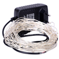 10M 100LED Silver/Copper Wire Fairy Lights with 12V 2A Power Adapter Warm White LED String Light New Year Wedding Decoration