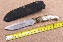 FOX Camping Survival Fixed Knives,5Cr15Mov Blade Copper Handle Tactical Knife,Hunting Knife.