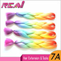 "1Pc Rainbow Color Orange+Yellow+Blue+Purple 100G 24"" Ombre High Temperature Xpression Kanekalon Jumbo Synthetic Braiding Hair"