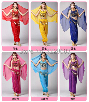 Women Oriental Dancing Bellydance Wear Set Tribal Belly Dance Dress Purple Red Blue Yellow Pink