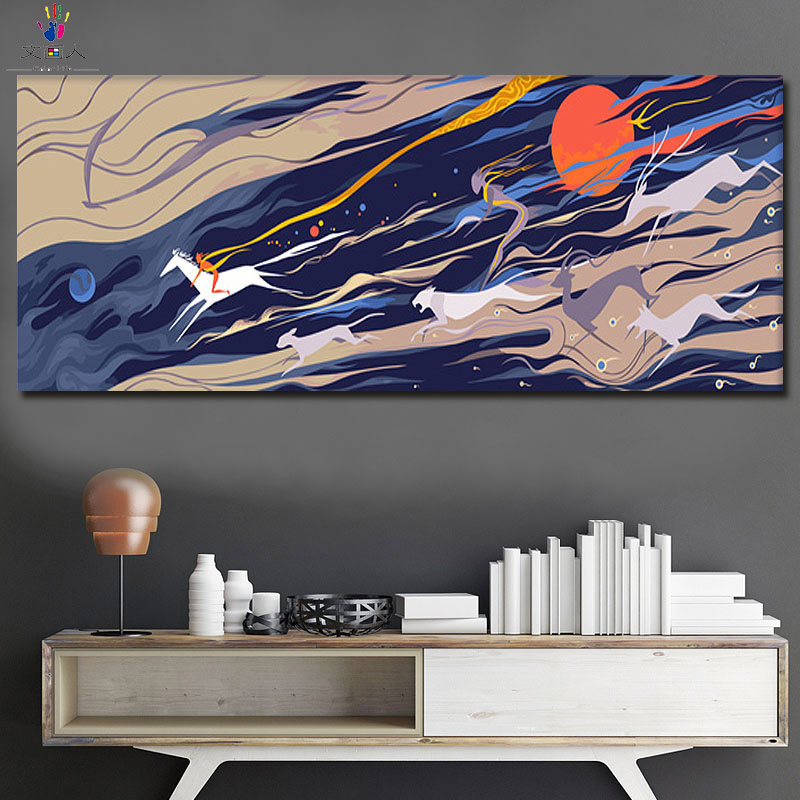 diy Coloring By Numbers Abstract picture paintings Paints drawings By Numbers with kits on canvas for modern wall decoration