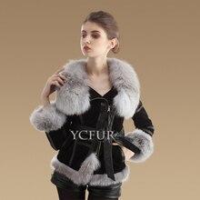 Fashion Women Fur Jacket Winter Genuine Pig Leather Coats Jackets For Women Natural Fox Fur Collar Trims Fur Coat Female YC1024