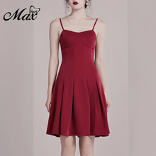 Max Spri 2019 New Fashion V Neck Spaghetti Strap Backless Bow Tie Draped Hem A-line Claret Red Knee-Length Women Party Dress