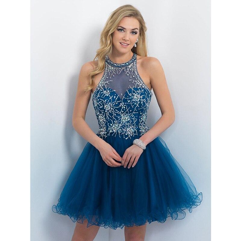 Beautiful Royal Blue Tulle Ruffles Prom Dresses 2017
