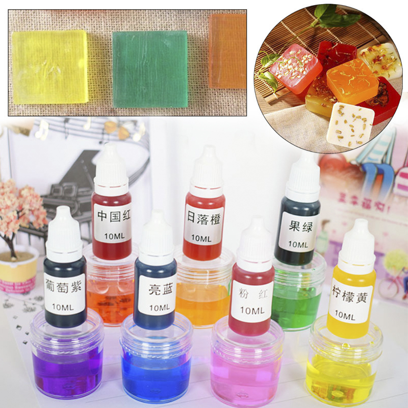 8 Color 10ml Handmade Soap DYE Pigment Liquid Colorant Tool Kit Hand Made Soap Materials Base Colour Liquid Soap DIY Pigment Set
