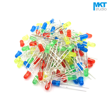 100Pcs Free Shipping Sample 5mm Long Pins Through Hole High Brightness LED Diode Green/Red/Yellow/Blue/White image