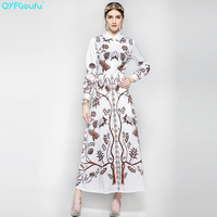 QYFCIOUFU 2018 Summer Fashion Runway Women Maxi Dress Long Sleeves High Quality Vintage Printed Casual White