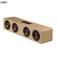 LEORY Classical Home Office Wooden Bluetooth Speaker Wireless 12W USB Charging Bluetooth TF Card AUX Mode