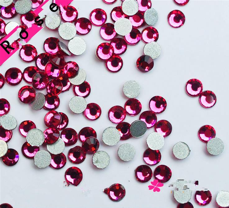 Super Shiny SS3-SS34 Rose Red Glitter Non Hotfix Opal Color 3D Nail Art Decorations Flatback Rhinestones Strass Stones super shiny 5000p ss16 4mm crystal clear ab non hotfix rhinestones for 3d nail art decoration flatback rhinestones diy