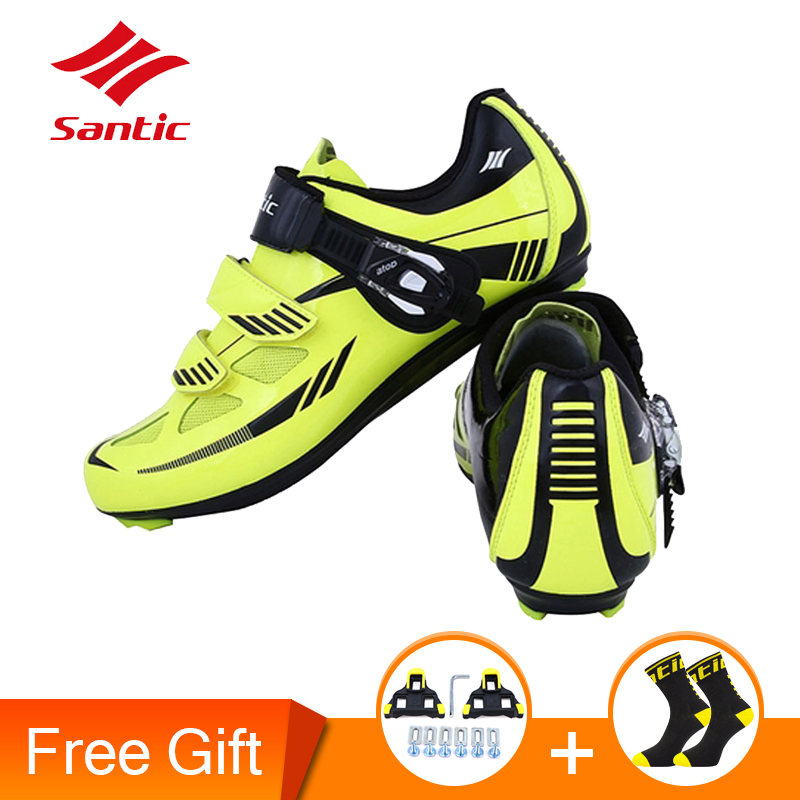 Santic Men Cycling Shoes Nylon TPU Breathable Locking Shoes Outdoor Waterproof Road Bike Shoes Sneakers For