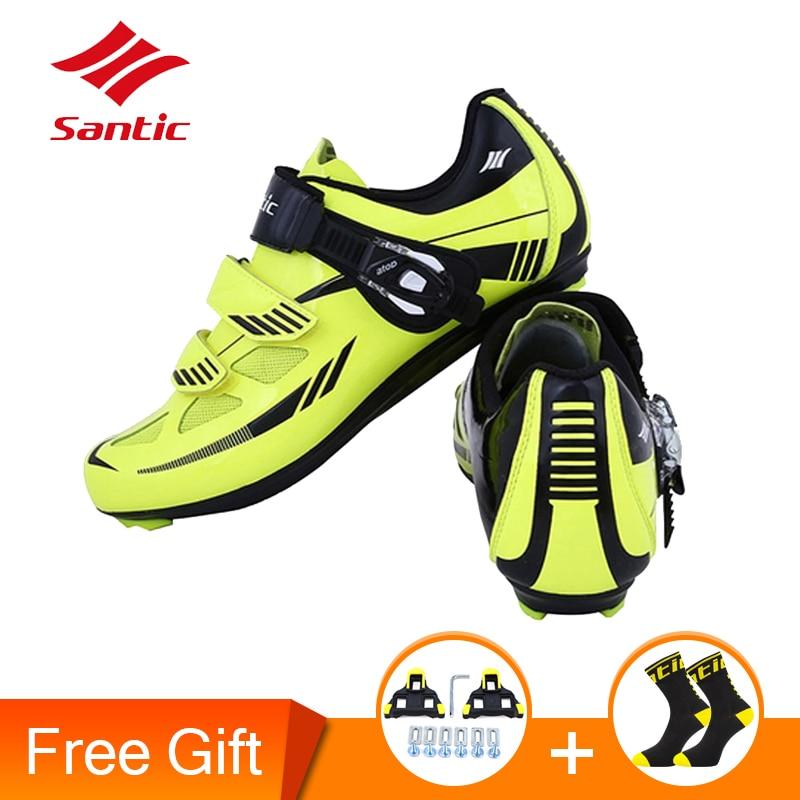 Santic Мужская обувь для велоспорта из нейлона и ТПУ дышащая обувь с замком уличная непромокаемая обувь для шоссейного велосипеда кроссовки д...