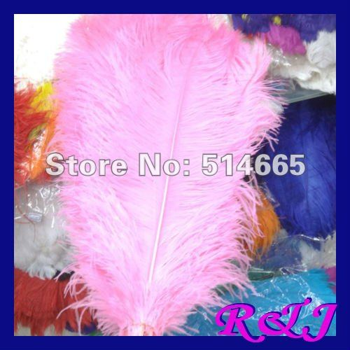 EMS Doprava zdarma Velkoobchod 50PCS 60-65cm 24-26 palců růžový singl OSTRICH FEATHER skutečné pštrosí fádní pera