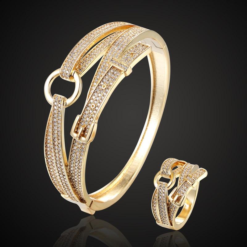 2018 New Year Women Couple Jewelry Fashion Women's Cubic zircon Bangle&bangle Belt Cuff Bracelet Bridal Accessory-in Cuff Bracelets from Jewelry & Accessories    1