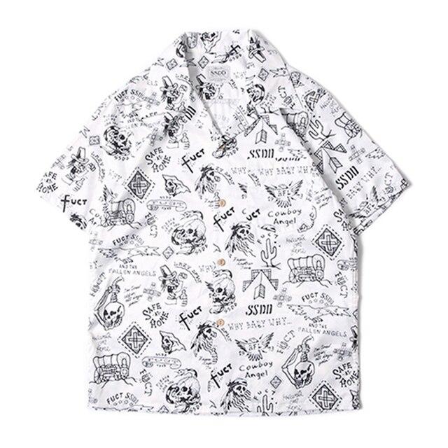 729937e0f Hawaii Aloha Shirts For Men Old School Short Sleeve Print Hawaiian Shirts  Summer Skull Pattern Tops For Beach Party Cruise Luau
