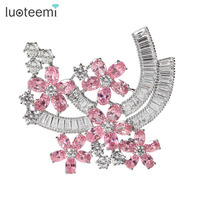 2014 Fashion AAA Zircon Two Colors Choice Flower Shape Women Brooch Beautiful And Top Quality Brooch