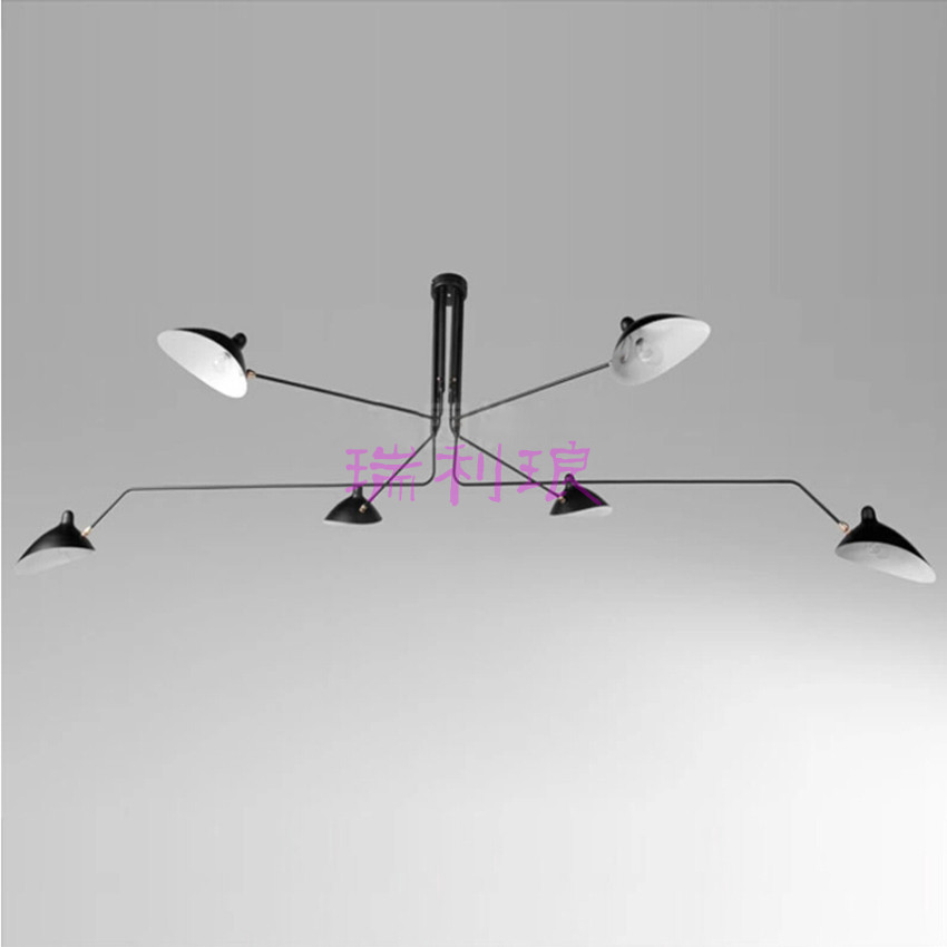American country pendant lights loft retro North dining room bedroom ceiling lamp simple creative iron 3/6 heads pendant lamps