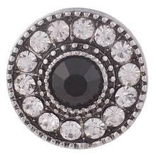 Partnerbeads 20MM Round Snap Antique Silver Plated Clear Black Rhinestones Snaps Jewelry Fit Bracelets for Women Men KB7711(China)