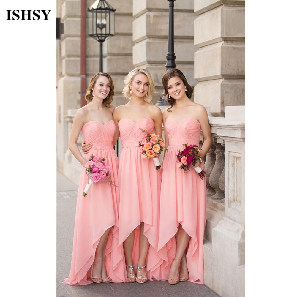 Nueva Largo Blush Lila Coral Alto Bajo Vestidos de Damas de honor Más Tamaño barato Debajo de 50 Vestido de Fiesta de La Boda vestidos de madre de ...