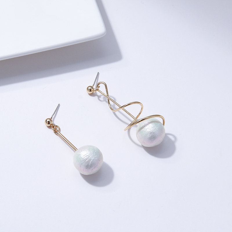Yhpup Trendy Personality Asymmetry Imitation Pearls Dangle Earrings Temperament Rhinestone Copper Earrings S925 for Women Party in Drop Earrings from Jewelry Accessories
