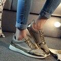 2016 новый дизайн женщин повседневная обувь Европейский стиль черное золото серебро цвет спорт комфорт обувь DT374