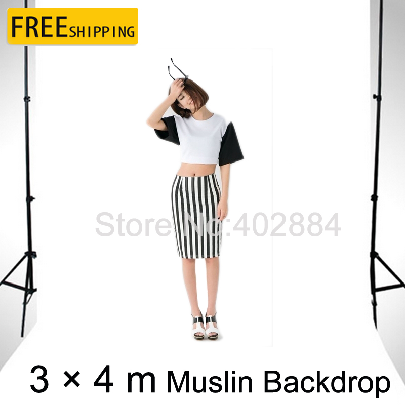 ФОТО Free Tax To Russia Professional photography Equipment 3*4M White Muslin Photo Backdrops for Sale Cloth Cotton background