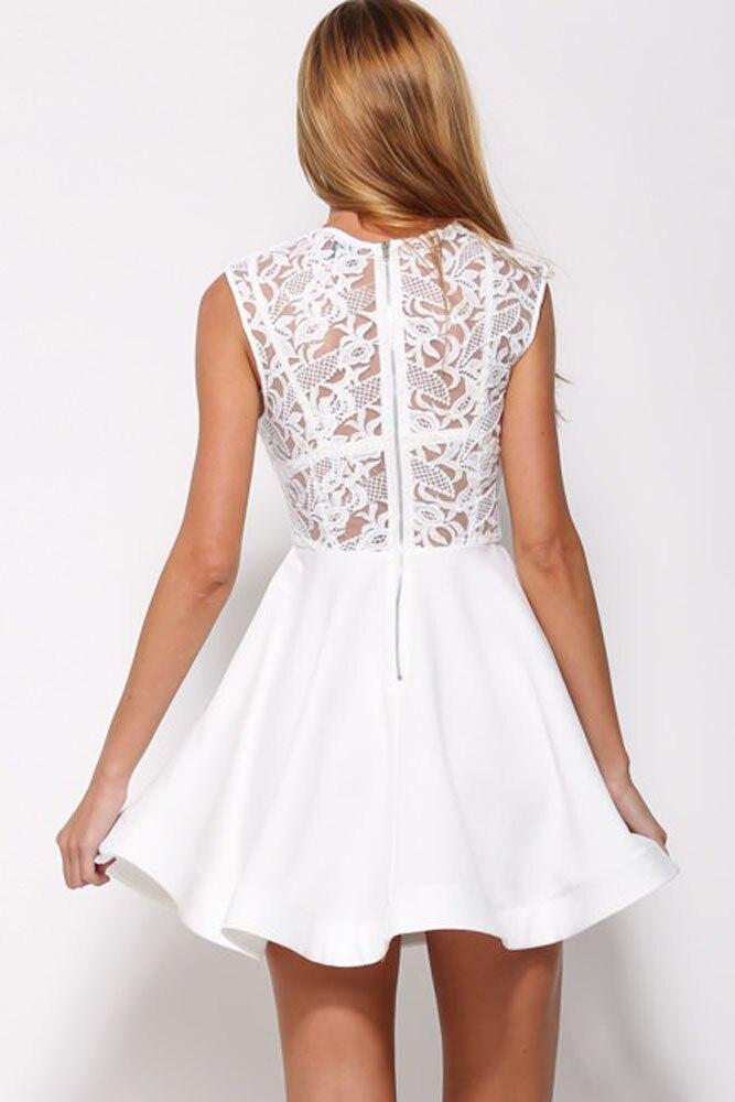 ... brand new BlackWhite Romance Lace Asymmetric Hem Skater Dress New  Fashion Ruffles Hollow Out Lace Skater ... afabfb5fb