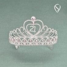 SWEETV Sparkly Children Rhinestone Crown Tiara Headpiece Birthday Party Quinceanera Wedding Girls Hair Accessories Head Jewelry