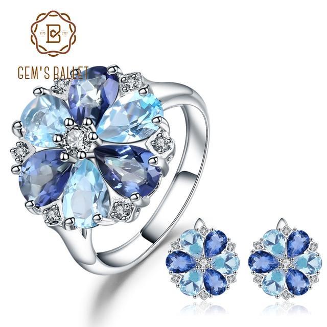GEM'S BALLET naturel bleu ciel topaze mystique Quartz fleur bijoux ensemble 925 Sterling argent boucles d'oreilles bague ensemble pour les femmes de mariage