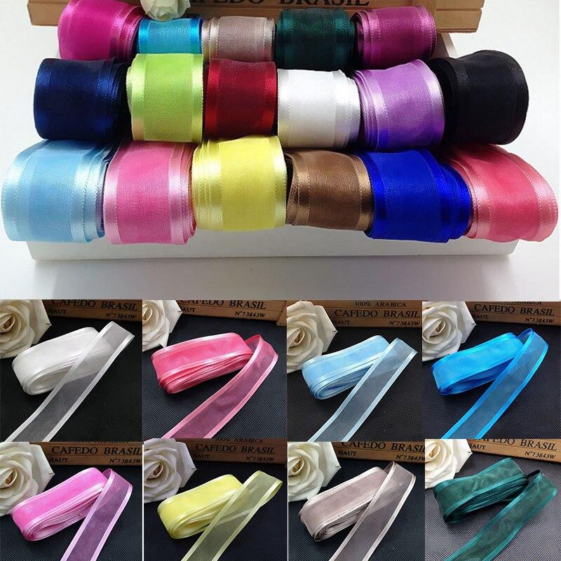 5M/lot 25mm Satin Edge Organza Ribbons Wedding Party Decoration Ribbon Gift Wrapping DIY Christmas Decor Craft Packaging Supply