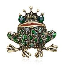 Rinhoo – broche grenouille en cristal pour femme, accessoire de luxe Vintage, couleur verte, bijoux pour manteau