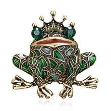 Rinhoo de rana de cristal broches para las mujeres de Color verde prendedor de animal broche Vintage de lujo joyería de accesorios de abrigo bisutería FrogKing