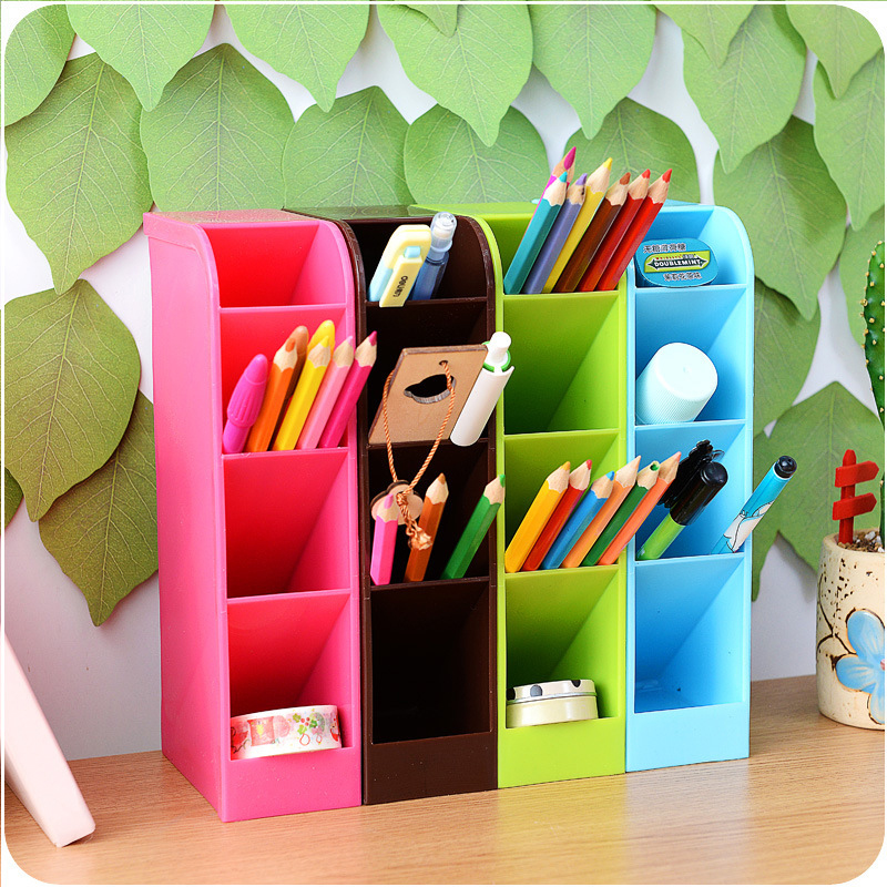 4 Grids Multifunction Plastic Pen Organizer Small Items Storage Holder Box Stationery Container Desk Organizer Accessories