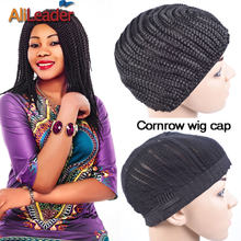 Popular Black Crochet Braided Wigs Cap Top Quality Wig Making Tools For Women Cornrow Wig Capsfor Making Wig Stretch 52-66Cm(China)