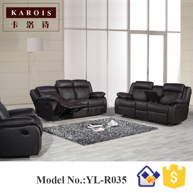 Yilin Furniture Manufacturer Genuine Leather Living Room 1 2 3 Recliner Sofa Sets