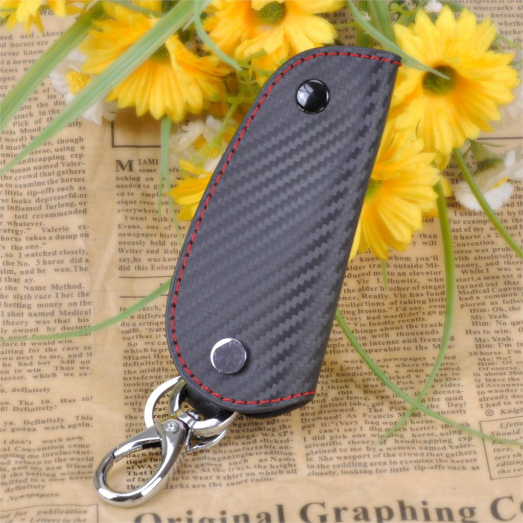 CITALL 3D Leather Carbon Fiber Remote Key Case chain keyless Fob cover Holder For Audi BMW