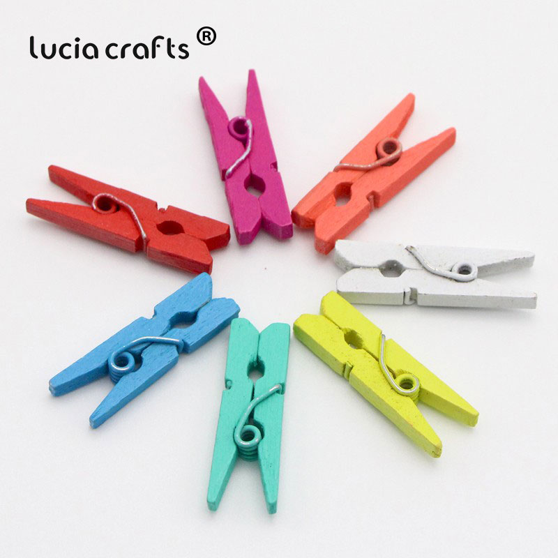 Mixed Color 2 Sizes Can Choose Wooden Craft Pegs Clothes Paper Photo Hanging Spring Clips Clothespins For Message Cards E1106