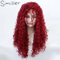 Similler Curly Lace Front Wigs Glueless with Baby Hair Long Synthetic Lace Front Wig for Women Black Red 26