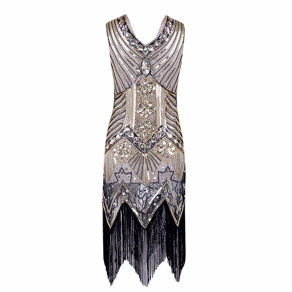 Gatsby Gaun Wanita Berpayet Gaun besar V Leher Manik-manik Berpayet - Pakaian Wanita - Foto 5