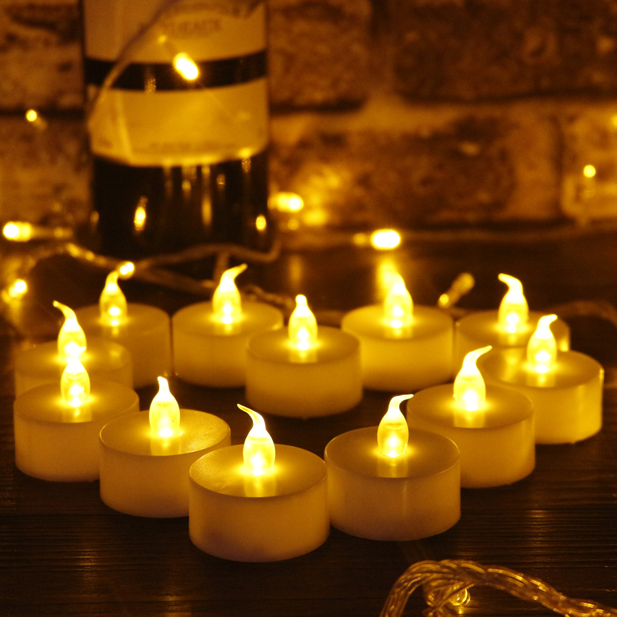 12pcs Flameless LED Candles Pillar Smokeless Flicker Led Tea Light Candle Lamps for Valentines Day Wedding Party Decoration