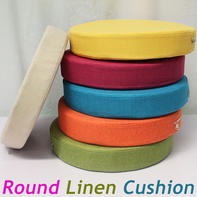 New Linen Foam Cushion Round Seat Sofa Chair Pillow Pads Office Vehicles Home